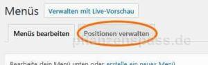 Positionen verwalten WordPress backend
