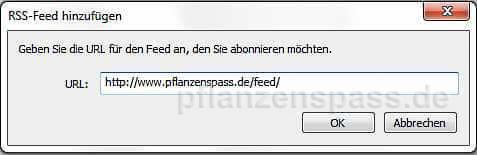 Feed-Adresse als www.domain.de/feed/ eintragen