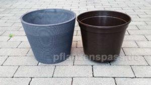 Kunststoff vs. Keramik Blumentopf bei gleichen Abmessungen