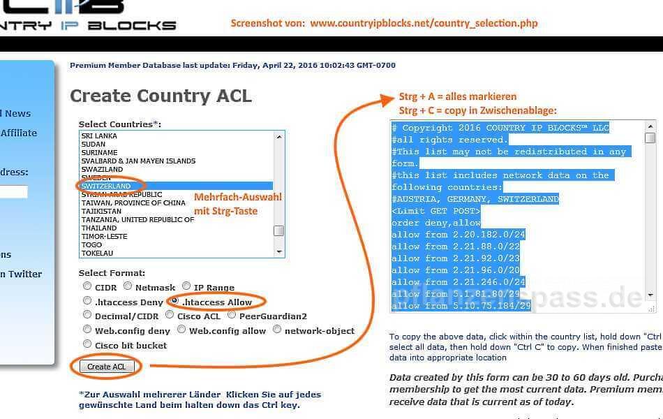 IP Adresse sperren whitelist blacklist IP Bereiche
