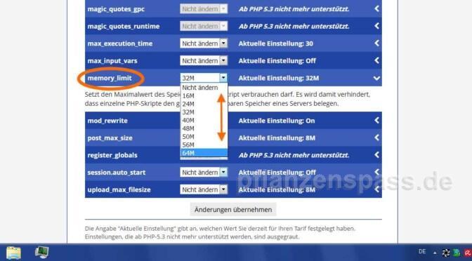php Memory Limit selber erhöhen alfahosting